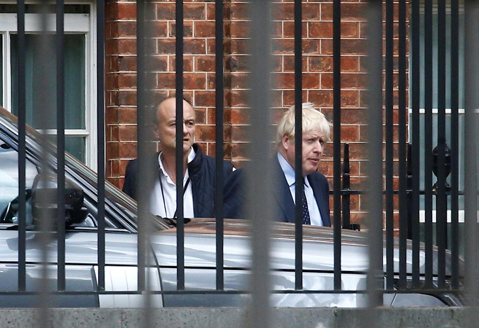 Britain's Prime Minister Boris Johnson and his special advisor Dominic Cummings leave Downing Street in London, Britain September 3, 2019. REUTERS/Henry Nicholls