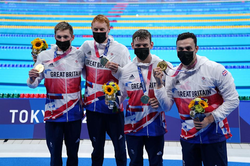 Duncan Scott, Tom Dean, Matthew Richards and James Guy secured relay gold (Adam Davy/PA) (PA Wire)
