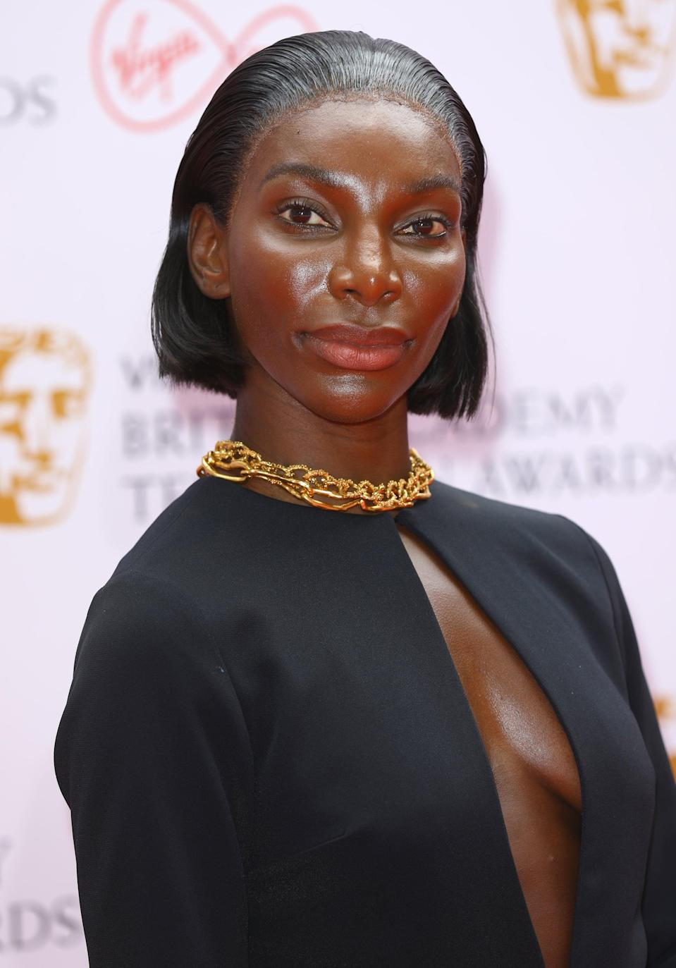 <p>Coel kept her beauty look simple for the evening with radiant skin and her blunt bob slicked back away from her face - keeping all the attention on the dramatic silhouette of her gown.</p>
