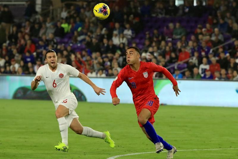 ORLANDO, FLORIDA - NOVEMBER 15: Sergino Dest #18 of the United States controls the ball during the CONCACAF Nations League match against Canada at Exploria Stadium on November 15, 2019 in Orlando, Florida. (Photo by Sam Greenwood/Getty Images)