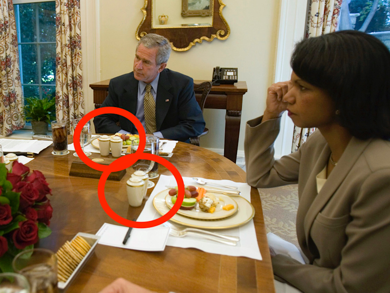 President Bush is joined for lunch Wednesday, Oct. 5, 2005, by Secretary of State Condoleezza Rice, right, and Karen Hughes, newly appointed Under Secretary of State for Public Diplomacy and Public Affairs.