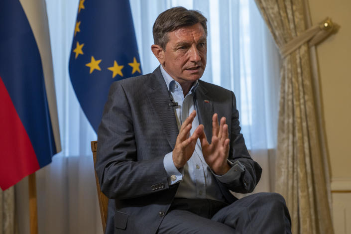 Slovenia's President Borut Pahor talks during an interview with the Associated Press at his office in Ljubljana, Slovenia, Tuesday, June 29, 2021. Slovenia, which held the presidency for the first and only time so far in early 2008, takes over just as the EU prepares to start distributing its massive coronavirus recovery fund aimed at reviving European economies from the damage inflicted by restrictions imposed to contain the disease. (AP Photo/Darko Bandic)