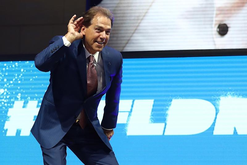 Nick Saban, bathing in the catcalls of his haters. (Getty)