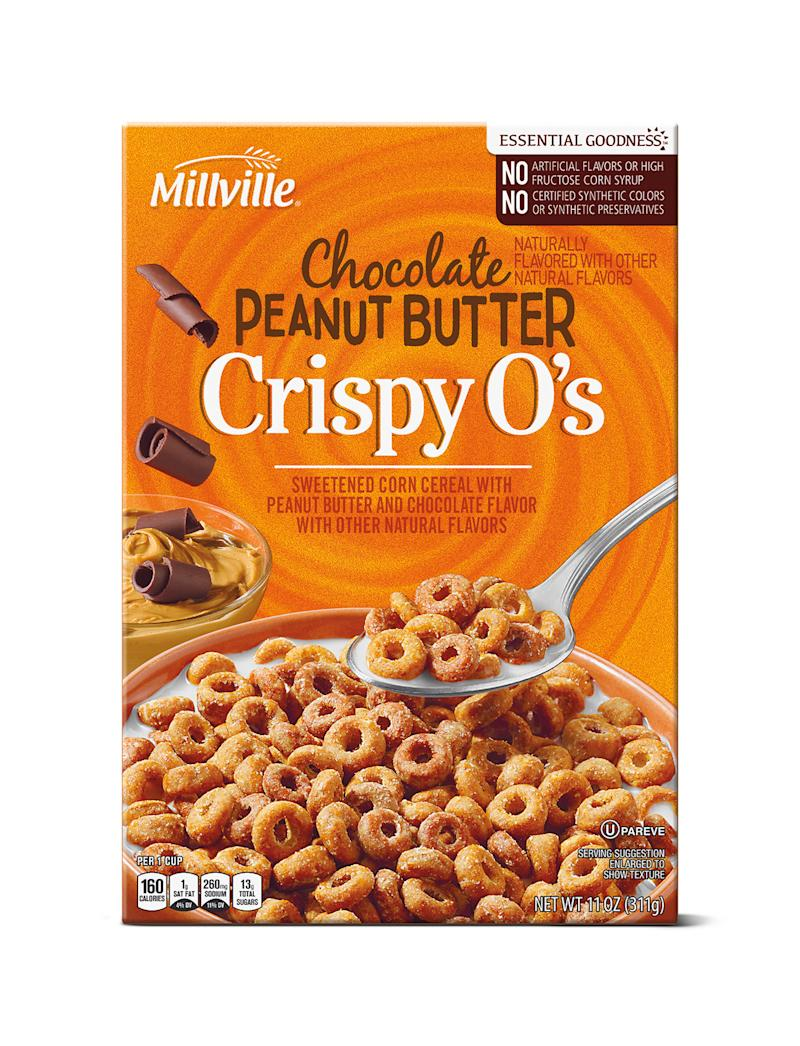 Box of chocolate peanut butter crispy o's on white background