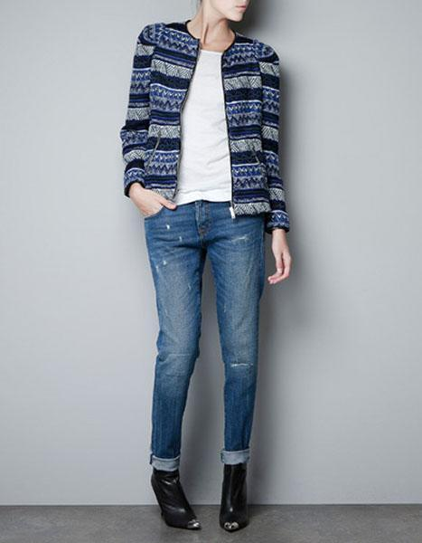 """<div class=""""caption-credit""""> Photo by: Zara</div><b>Zara printed zip cardigan, $129, zara.com</b> <br> This style is perfect for dressing up your denim."""