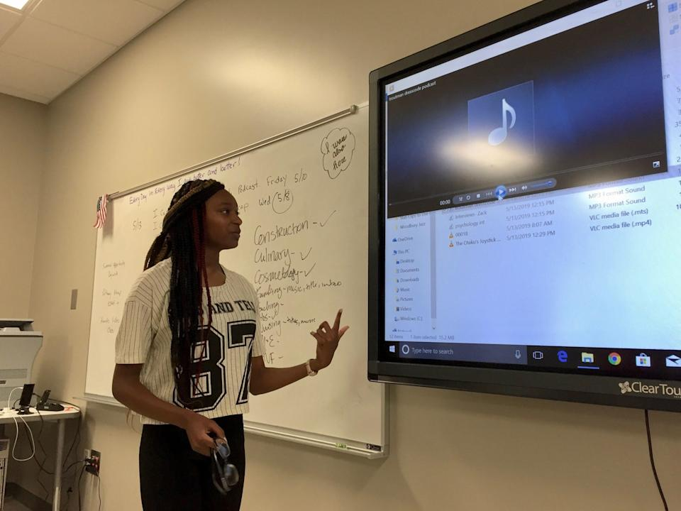 Jy'Nivea Troutman presents her podcast to her class at the Williams S. Hutchings College and Career Academy in Macon, Georgia, in May 2019.