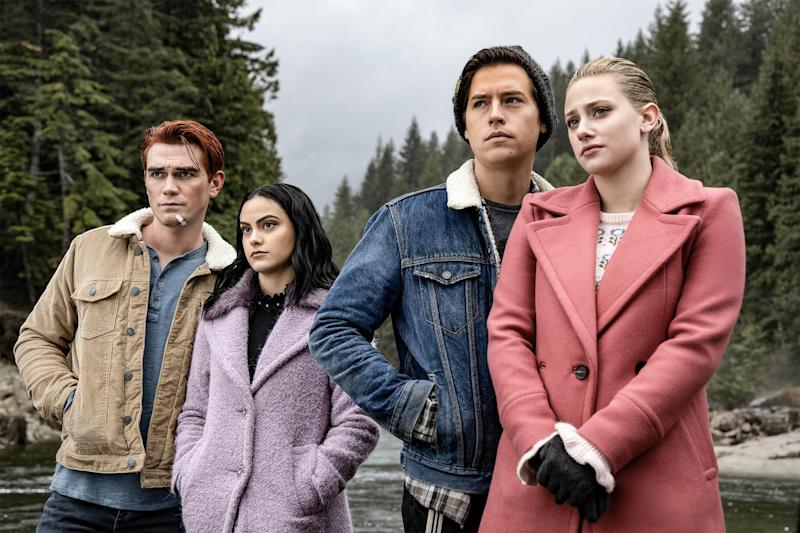 RIVERDALE, from left: KJ Apa, Camila Mendes, Cole Sprouse, Lili Reinhart, 'Chapter Sixty- Six: Tange', (Season 4, ep. 409, aired Dec. 11, 2019). photo: Jack Rowand / The CW / Courtesy Everett Collection
