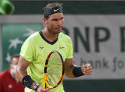 Spain's Rafael Nadalcelebrates after defeating Richard Gasquet of France during their second round match on day 5, of the French Open tennis tournament at Roland Garros in Paris, France, Thursday, June 3, 2021. (AP Photo/Michel Euler)