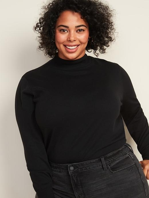 Relaxed Mock-Neck Plus-Size Sweater
