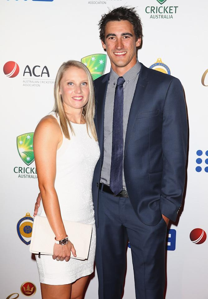 SYDNEY, AUSTRALIA - JANUARY 20:  Alyssa Healy and Mitchell Starc arrive at the 2014 Allan Border Medal at Doltone House  on January 20, 2014 in Sydney, Australia.  (Photo by Don Arnold/WireImage)
