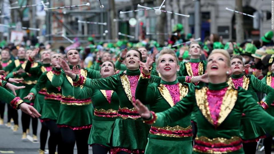 "<p>Performers take part in the St Patrick's Day parade in Dublin on March 17, 2018. / AFP PHOTO / Paul FAITH (Photo credit should read PAUL FAITH/AFP/Getty Images)</p><div class=""cnn--image__credit""><em><small>Credit: Paul Faith/AFP/Getty Images / Getty</small></em></div>"