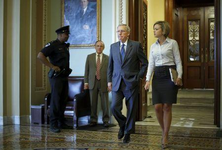 McConnell departs the Senate floor after a vote at the U.S. Capitol in Washington