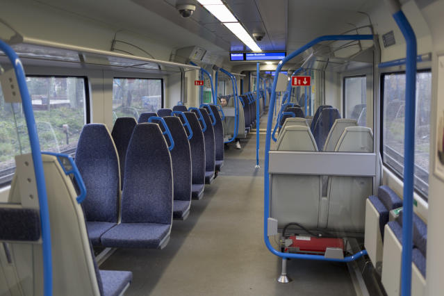 Londoners starting to work from home has led to empty train carriage seats, such as on this service on 19 March 2020. (Richard Baker / In Pictures via Getty Images)