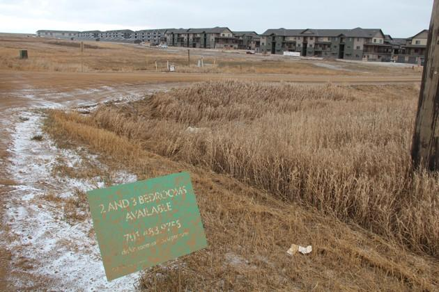 New apartments in Dickinson, N.D., that were built to house the influx of people working in the oil field now advertise openings. (Mara Van Ells)
