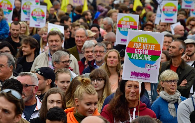 As the far right demonstrated, others held counter-demonstrations in support of the Muslim community (AFP Photo/John MACDOUGALL)
