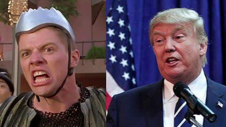 Biff (left) was apparently inspired by Donald Trump (right): Universal/Getty