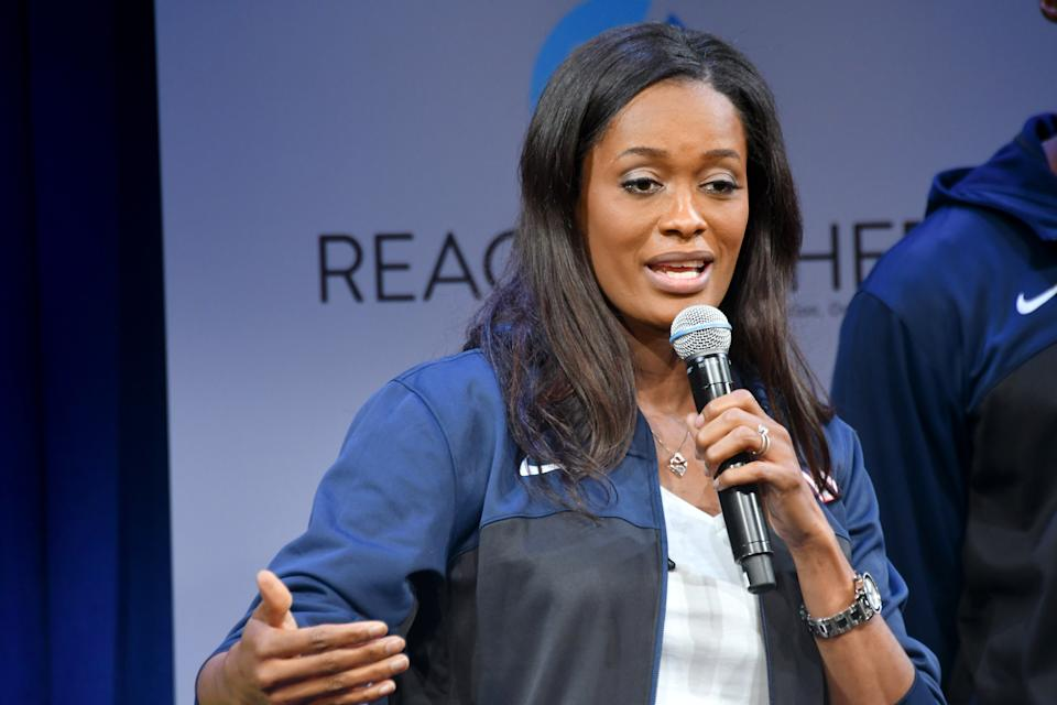 Swin Cash speaks onstage during MTV's 2017 College Signing Day With Michelle Obama at The Public Theater on May 5, 2017 in New York City.