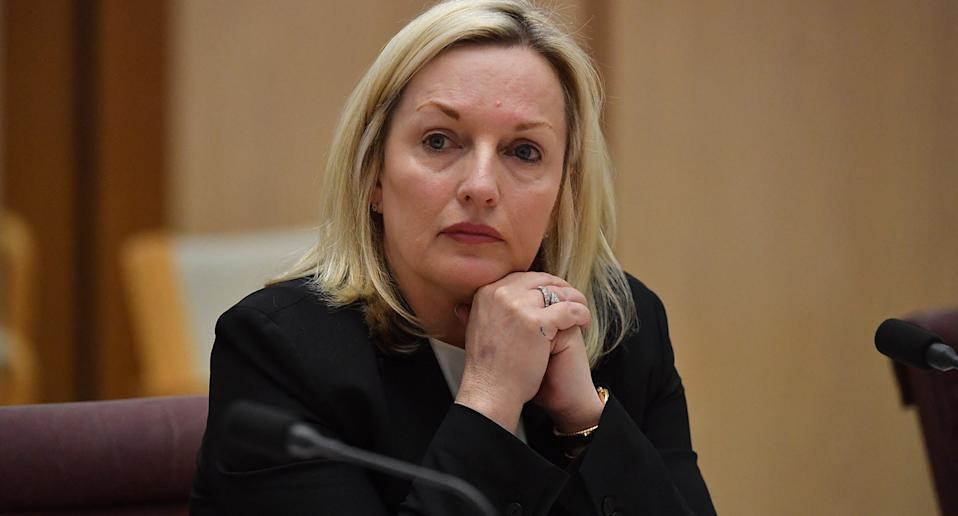 Australia Post CEO Christine Holgate appears before a Senate inquiry into changes at Australia Post at Parliament House in Canberra,.
