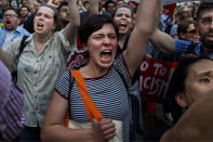 <p>People protest during a rally about the U.S. Supreme Court's decision to uphold President Donald Trump's ban on travel from several mostly Muslim countries, Tuesday, June 26, 2018, in New York. (Photo: Andres Kudacki/AP) </p>