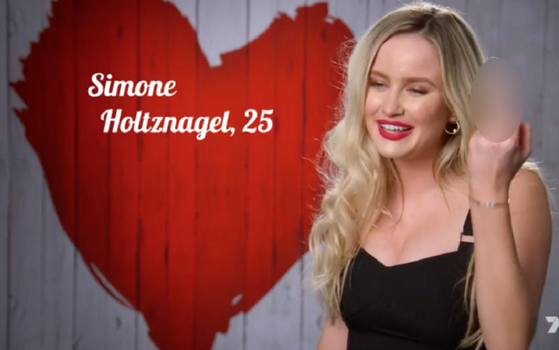 Simone made quite an impression on First Dates. Photo: Seven