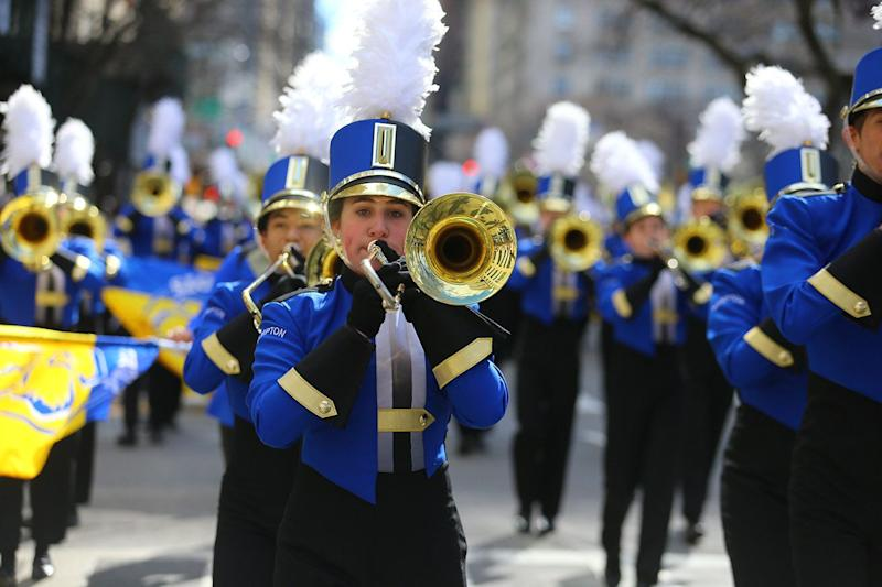 A marching band performs during the St. Patrick's Day Parade, March 16, 2019 in New York. (Photo: Gordon Donovan/Yahoo News)