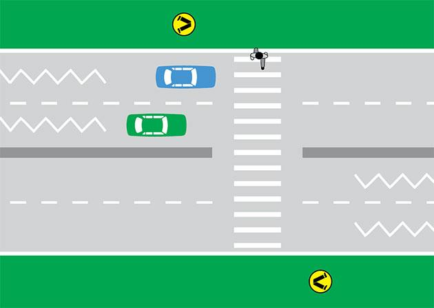 Pictured is an RMS graphic of a pedestrian crossing a zebra crossing as a green and blue car approach.