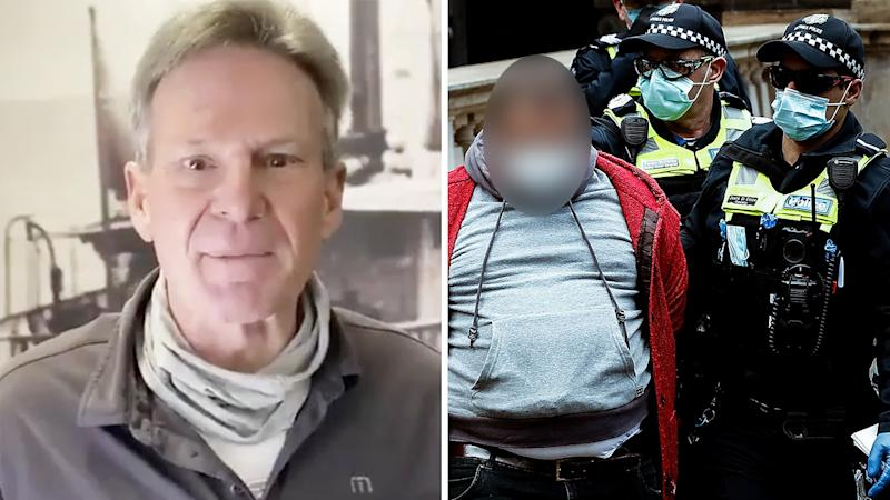 A 50-50 split image shows Sam Newman on the left and Victoria Police arresting an anti-lockdown protestor on the right.