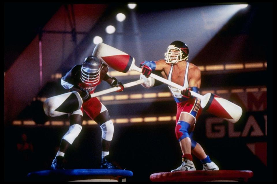 <p>This physical competition show debuted in 1989, where everyday contestants would compete in physical challenges against athletes. Both men and women competed in events like tug of war and joust. The show was revived in 2008 on NBC for one season, hosted by Hulk Hogan and Laila Ali. </p>