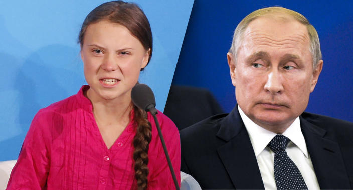 Greta Thunberg and Russian President Vladimir Putin (Photos: Jason DeCrow/AP, Alexei Druzhinin, Sputnik, Kremlin Pool Photo via AP)