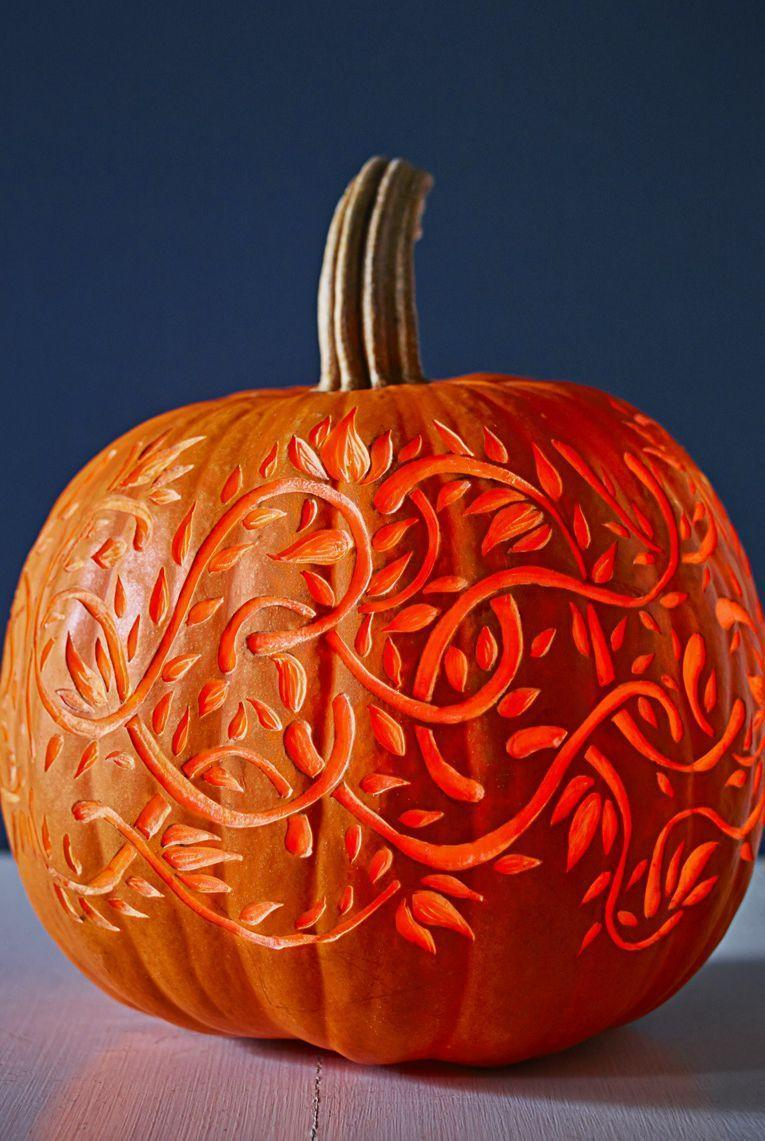 <p>Twisting vines glow when etched into, but not through, a hallowed-out pumpkin.<br><strong><br>Make Twisting Vines Pumpkin: </strong>Cut a hole in bottom of a pumpkin; scoop out pulp and seeds. Gently sketch your design on the pumpkin and use a lemon zester, clay loop, or linoleum cutter to etch out design. Insert a candle in the hole, light, and display.</p>
