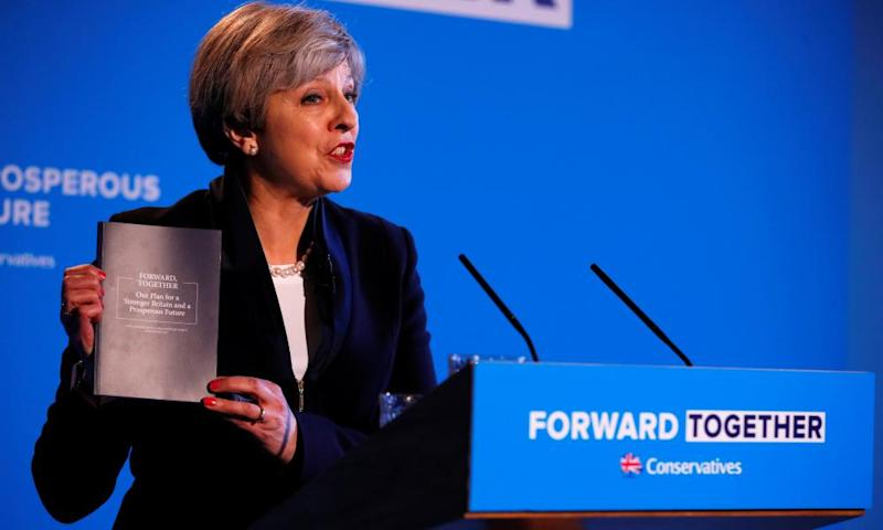 Theresa May launches the Conservative party manifesto, which includes the policy on adult social care that has been described as a tax on dementia.