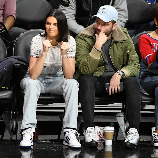 <p>The model watched intently as her Clippers boyfriend, Blake Griffin, and his teammates took on the Celtics at the Staples Center on Wednesday. (Photo: Allen Berezovsky/Getty Images) </p>