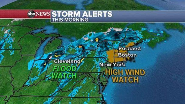 PHOTO: Flood and high wind watches are in effect on Friday for parts of the Northeast. (ABC News)