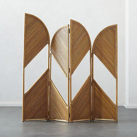 """<h3><a href=""""https://www.cb2.com/fan-natural-rattan-room-divider/s208628"""" rel=""""nofollow noopener"""" target=""""_blank"""" data-ylk=""""slk:CB2 Natural Rattan Room Divider"""" class=""""link rapid-noclick-resp"""">CB2 Natural Rattan Room Divider</a> </h3><p>The peekaboo panels on this rattan divider allow for dramatic light entry into any sectioned off space.</p><br><br><strong>CB2</strong> Fan Natural Rattan Room Divider, $599, available at <a href=""""https://www.cb2.com/fan-natural-rattan-room-divider/s208628"""" rel=""""nofollow noopener"""" target=""""_blank"""" data-ylk=""""slk:CB2"""" class=""""link rapid-noclick-resp"""">CB2</a>"""