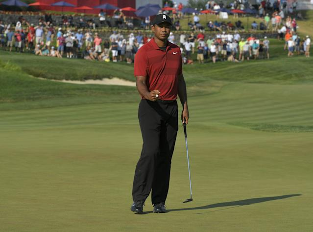 """<h1 class=""""title"""">Quicken Loans National - Final Round</h1> <div class=""""caption""""> POTOMAC, MD - JULY 01: Tiger Woods reacts to his putt on the 18th hole during the final round of the Quicken Loans National at TPC Potomac at Avenel Farm on July 1, 2018 in Potomac, Maryland. (Photo by Stan Badz/PGA TOUR) </div> <cite class=""""credit"""">Stan Badz</cite>"""