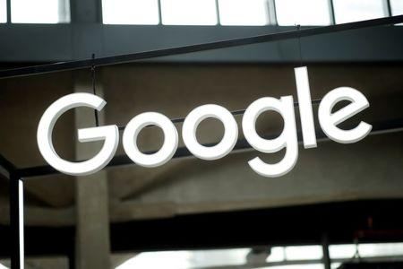 """FILE PHOTO: The Google logo is seen at the """"Station F"""" start up campus in Paris, France, February 15, 2018. REUTERS/Benoit Tessier/File Photo"""