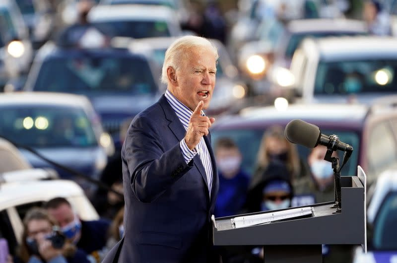U.S. presidential candidate Biden holds drive-in campaign event in Dallas, PA
