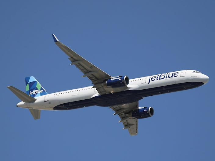 <p>JetBlue takes off from JFK Airport on 24 August, 2019 in the Queens borough of New York City</p> (Getty Images)
