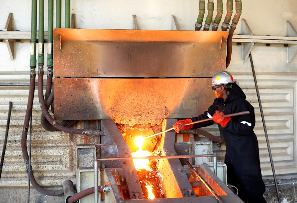A worker at a smelting plant at Anglo American Platinum's Unki mine in Shurugwi, Zimbabwe
