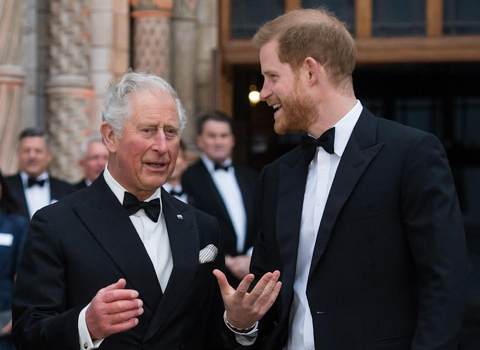 """Prince Harry with his father, Prince Charles at the """"Our Planet"""" global premiere at the Natural History Museum April 4, 2019 (Photo: Getty)"""
