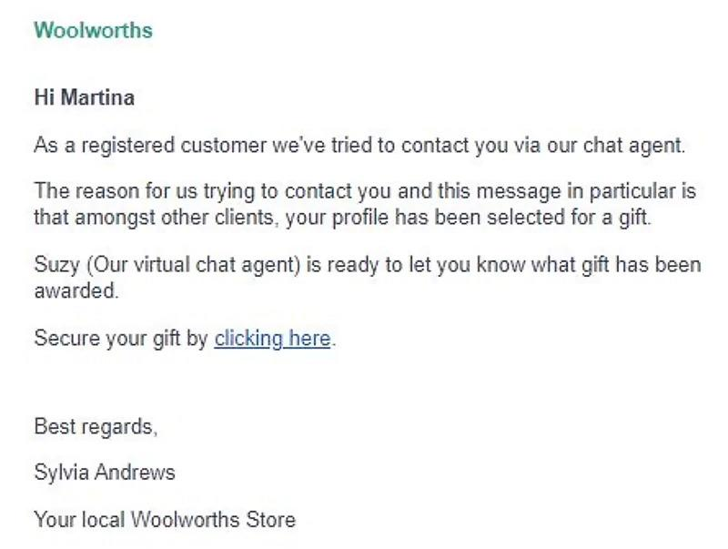 Screenshot of a scam sms message targeting Woolworths customers.