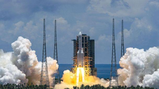 PHOTO: A Mars probe is launched on a Long March-5 rocket from the Wenchang Spacecraft Launch Site in south China's Hainan Province, July 23, 2020. (CHINE NOUVELLE/SIPA/REX via Shutterstock)