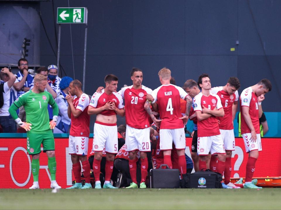 Denmark's game with Finland was suspended (Pool via REUTERS)