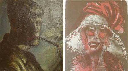 File combination photo of two formerly unknown paintings by German artist Otto Dix beamed to a wall November 5, 2013, in an Augsburg courtroom during a news conference. REUTERS/Michael Dalder/Files