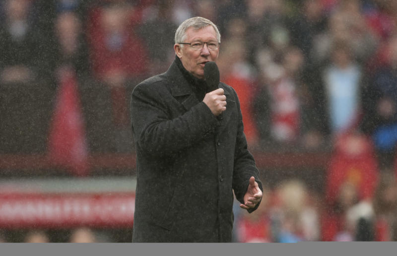 Manchester United's manager Sir Alex Ferguson speaks to the crowd after his last home game in charge of the club, their English Premier League soccer match against Swansea City, at Old Trafford Stadium, Manchester, England, Sunday May 12, 2013. (AP Photo/Jon Super)