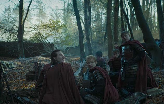 The singer chills with his Lannister mates. Source: HBO