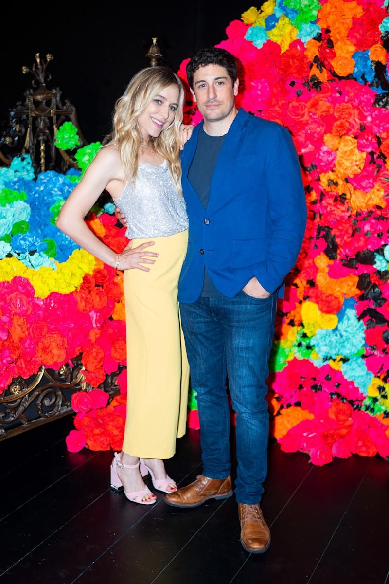 NEW YORK, NEW YORK - JUNE 18: Jenny Mollen (L) and Jason Biggs attend the Summer Kickoff Party for WorldPride hosted by Alice + Olivia by Stacey Bendet and the Trevor Project on June 18, 2019 in New York City. (Photo by Gotham/WireImage)