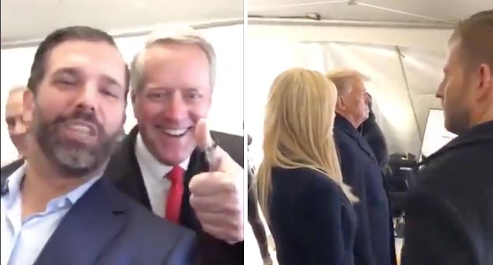 Trumps seen partying before president's speech