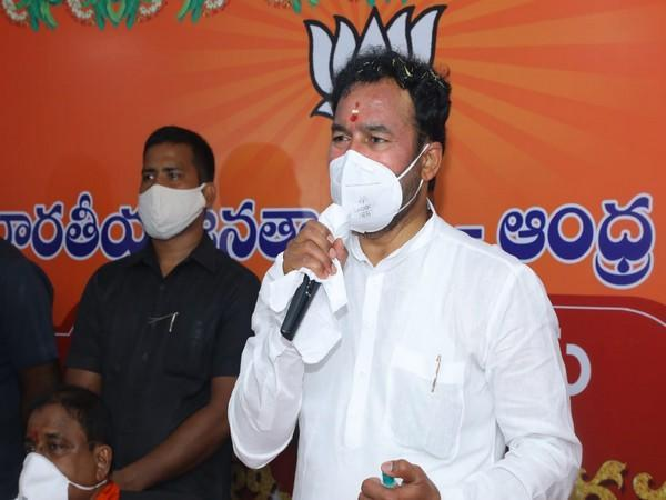 Union Minister of State for Home G Kishan Reddy addressing party workers and leaders at BJP's new office (Photo/ANI)