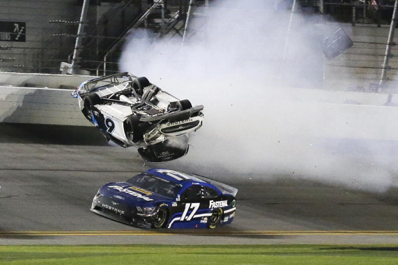 Ryan Newman's car flipped over after he hit the wall. (AP Photo/Terry Renna)